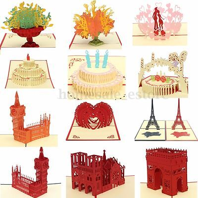 3D Pop Up Greeting Card Happy Birthday Valentine Easter Anniversary Wedding Luck