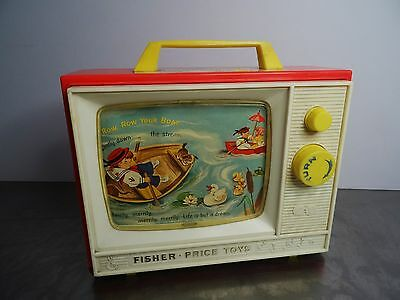 Vintage Fisher Price Two Tune Music Box TV Classic Toy Kindersspielzeug ~60er