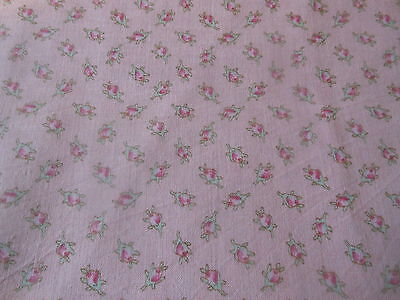 Antique Vintage Rose Bud Cotton Fabric ~ orchid pink aqua ~ dolls bears projects