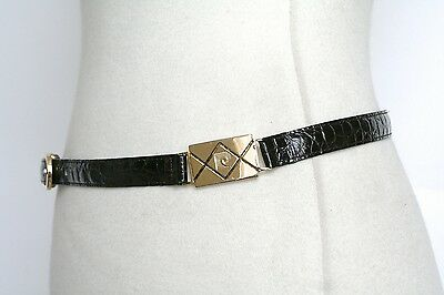 M - Pierre Cardin Vintage Belt - 1980s brown crocodile skinny leather belt