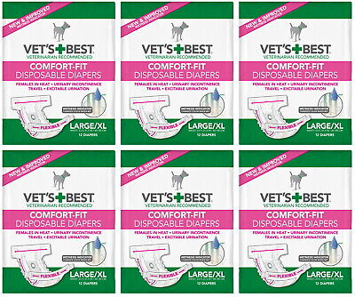 Vet's Best Comfort-Fit Disposable Female Diapers L/XL 72pk (6x12pk)