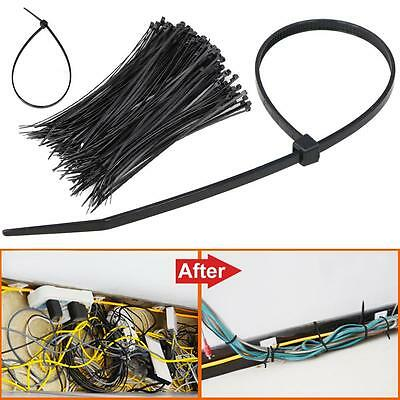 "1000PCS 8"" Black Network 50 Lbs Zip Nylon Cable Cord Wire Tie Strap US"