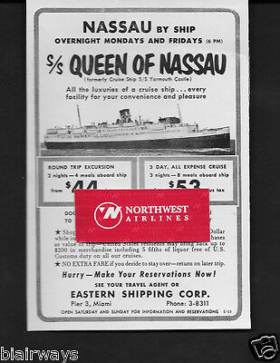 Eastern Shipping Corp S.s.queen Of Nassau 2 Nights-4 Meals $44 From Miami Ad
