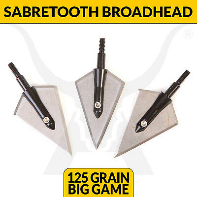 Sabretooth Big Game 125G Broadhead Solid Steel Hunting Tips Compound Bow Archery