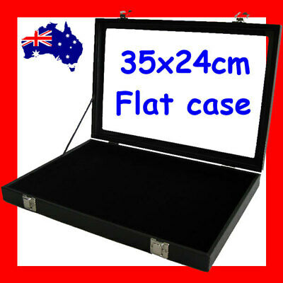 PREMIUM QUALITY Glass Lid FLAT Jewellery Case | Black | AUSSIE Seller