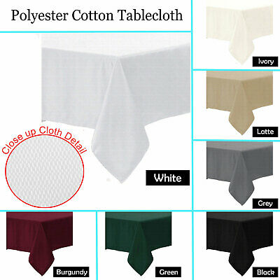 Poly Cotton Tablecloth - ROUND SQUARE RECTANGLE 6-8, 8-10, 10, 10-12 Seater