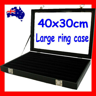 PREMIUM QUALITY Glass Lid Ring Display Case-LARGE | 40x30cm | AUSSIE Seller