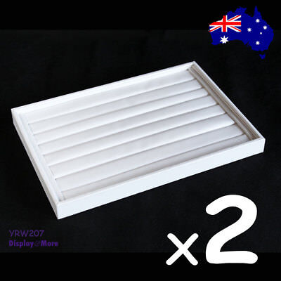 2X PREMIUM QUALITY White Leatherette Ring Display Tray-7 Slots | AUSSIE Seller
