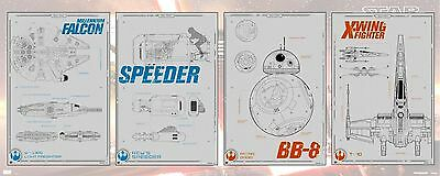 Collector Set all 4 Drone Blueprints Star Wars The Force Awakens Posters