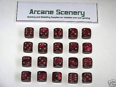 20 x 16mm DICE RED PEARL 6 gold spot wargames dice
