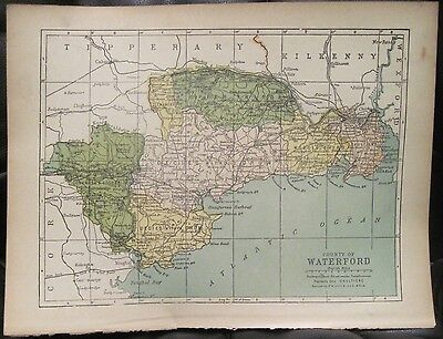 Irish Map County WATERFORD Ireland Deise Gaultiere Colored PW Joyce 1905 7x9.5