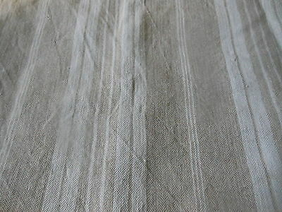Antique French Taupe Beige Herringbone Pure Linen Ticking Fabric