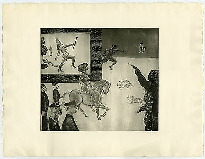 Antique Print-DREAM ON HORSEBACK-SURREALIST SCENE-DREAM-Worm-1972