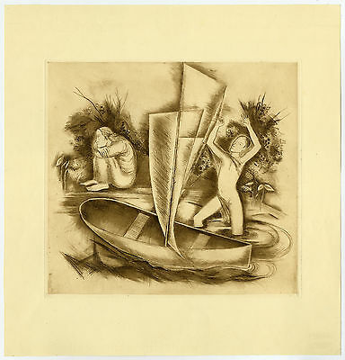 Antique Print-MEMORY FORWARD-ABSTRACT-CONTEMPLATION-BOAT-Van Rees-ca. 1930