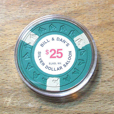 $25. Bill & Dan's Silver Dollar Saloon Casino Chip - 1991 Issue - Elko, Nevada