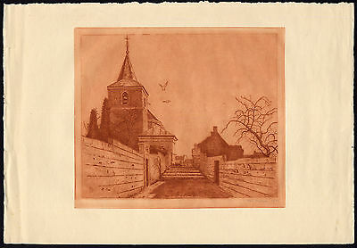 Antique Print-KERKJE VAN CANNE-CHURCH-TOWER-PIGEON-Meyer-ca. 1930