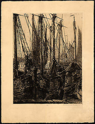 Antique Print-SHIP-SAIL-HARBOUR-Franchomme-van Halteren-ca. 1920