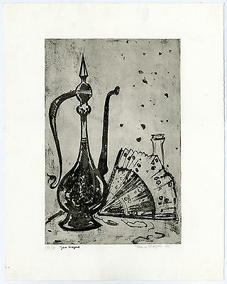 Antique Print-STILL LIFE-MOCHA JAR-FAN-BOTTLE-STOPPER-Wiegers-1975