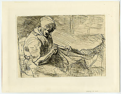 Antique Print-NETTENBOETSTER-MENDING NETS-Israels-1888