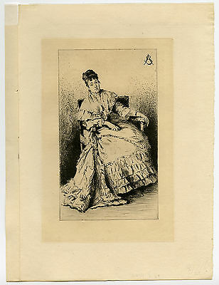 Antique Print-ETUDE-FEMME ASSISE-SEATED WOMAN-Stevens-1878