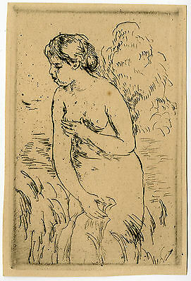 Antique Print-BAIGNEUSE-STANDING BATHER-NUDE-FEMALE-Renoir-ca. 1910