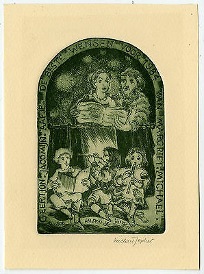Antique Print-NEW YEAR'S WISH-FLUTE-SING-FAMILY-Jepkes-1983