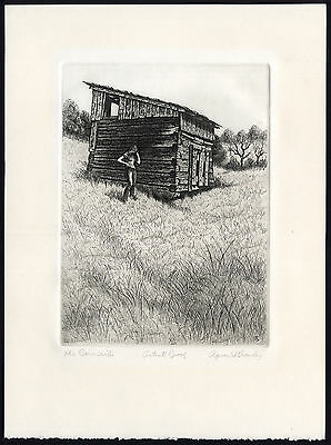 Antique Print-THE CORNCRIB-YOUNG WOMAN-FIELD-Crowley-ca. 1985