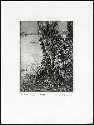 Antique Print-THE COTTONWOOD-TREE-LAKE-FISHERMAN-Crowley-ca. 1985