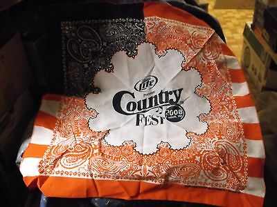 ksm. Unused Bandanna Miller Lite Presents Country Fest 2008 Cadott WI 21.5 x 21""
