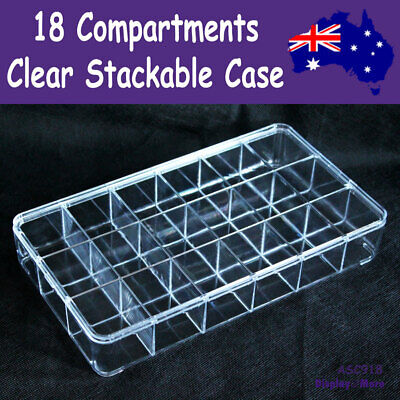 Stackable Bead Display Storage Case-18 Compartment-CLEAR Acrylic | AUSSIE Seller