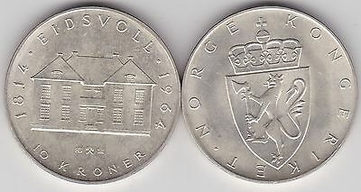 1964 Norway Silver 10 Kroner In Extremely Fine Condition