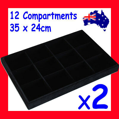 PREMIUM 2X Jewellery Tray-12 Compartments-FULL Black Velvet | AUSSIE Seller