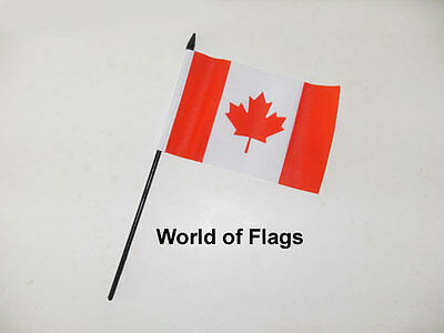 """CANADA SMALL HAND WAVING FLAG 6"""" x 4"""" Canadian Crafts Table Desk Display"""