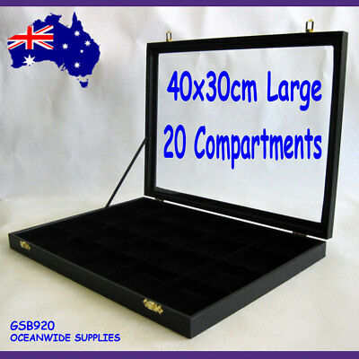 RELIABLE Glass Lid Jewellery Case-20 Compartments-LARGE-40x30cm | AUSSIE Seller