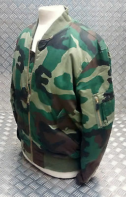 MA1 US Military Style Bomber Jacket MOD/Scooter Woodland. Camo. All Sizes - NEW