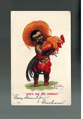 Color Postcard Cover Black Americana Little Coons Series Child with Chicken