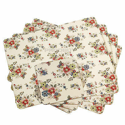 Set of 4 Placemats & Coasters Cream Vintage Floral Shabby Chic Dining Table Mats