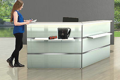 Rezeption Manchester+ Weiß/Glas Empfangstheke Reception Counter Desk Theke