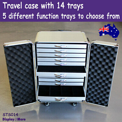 Jewellery Case | TRAVEL Luggage Carry on SUITCASE + 14 Trays | AUSSIE Seller