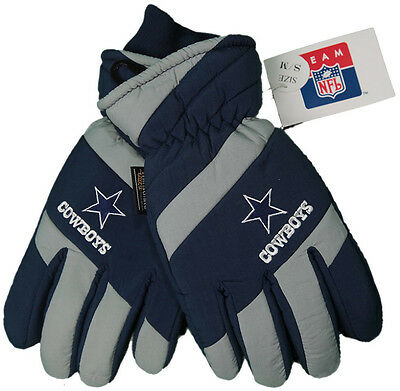 New! NFL Dallas Cowboys  Gloves  Embroidered logo & Leather Palm Mens OSFA S/M