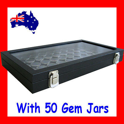 PREMIUM Glass Lid Gemstone OPAL Display Case | with 50 Gem Jars | AUSSIE Seller