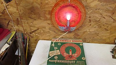 Antique Paramount Lighted Chenille Wreath OB  No. 1