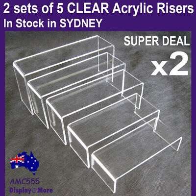 SUPER DEAL Set of 5 Sturdy Jewellery Display Riser-Clear Acrylic | AUSSIE Seller