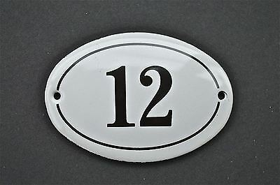 Antique Style Small Oval Number 12 Door Number Plaque Sign Enamel On Metal