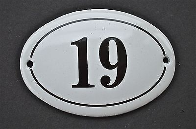 Antique Style Small Oval Number 19 Door Number Plaque Sign Enamel On Metal