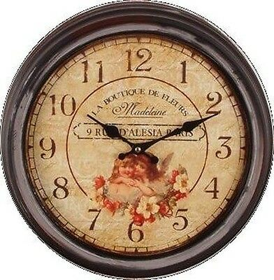 VINTAGE WALL CLOCK KITCHEN CHATEAU ANTIQUE REGULATOR Angel ROMANTIC FROM PALAZZO