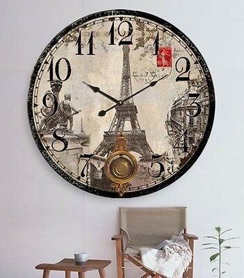 Nostalgic Suspension Wall Clock Kitchen Clock Paris Eiffel Tower Vintage