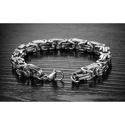 New Heavy Silver Tone Stainless Steel Curb Chain Men's Fashion Bracelet Bangle