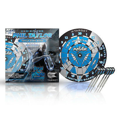 TARGET Phil Taylor Lightning Dart board + 2 sets of Power Darts Family Fun Game