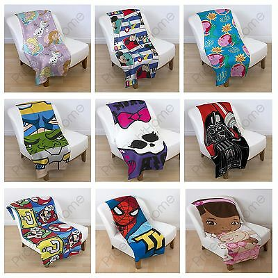 Kids Character Fleece Blankets Star Wars Avengers Paw Patrol Lego Frozen & More